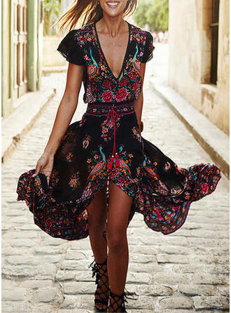 Print Bohemian Floral Slit V-neck Maxi A-line Dress