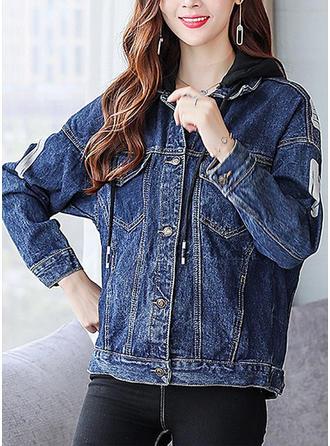 Dżinsowa Bawełna Długie rękawy Wydrukować Jeans Płaszcze