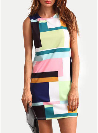 Color-block Sleeveless Sheath Above Knee Casual Dresses
