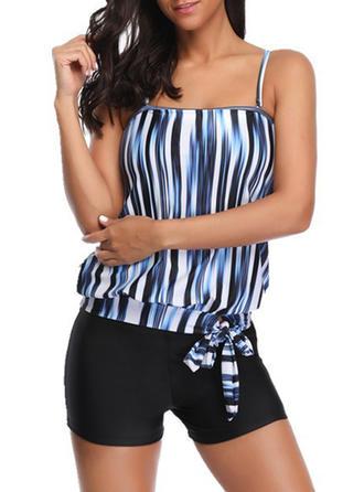 Stripe Strap Elegant Tankinis Swimsuits