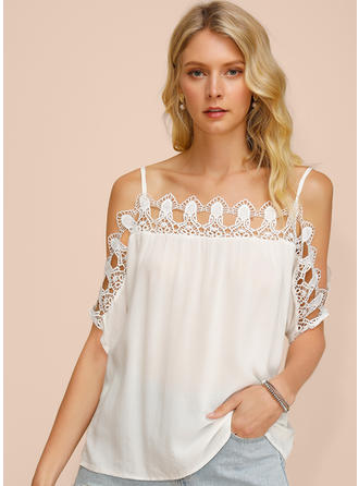 Solid Lace Spaghetti Strap Cold Shoulder 1/2 Sleeves Casual Sexy Blouses