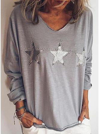 Nadruk Dekolt w kształcie litery V Długie rękawy Casual T-shirty