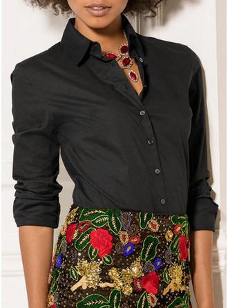 Bawełna Litera V Jednolity kolor Długie rękawy Koszula Bluzki