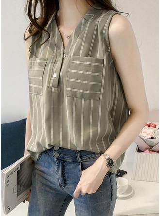 Cotton V Neck Striped Sleeveless Shirt Blouses