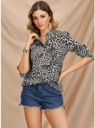 Animal Print Band Collar Long Sleeves Casual Elegant Blouses