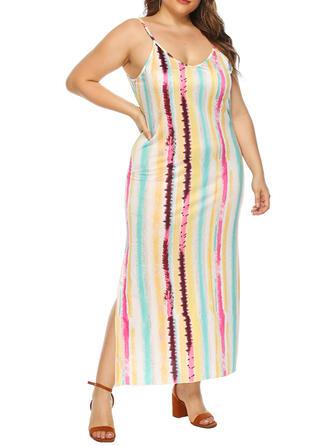 Imprimée/À Rayures Sans Manches Fourreau Sexy/Décontractée/Grande taille Maxi Robes