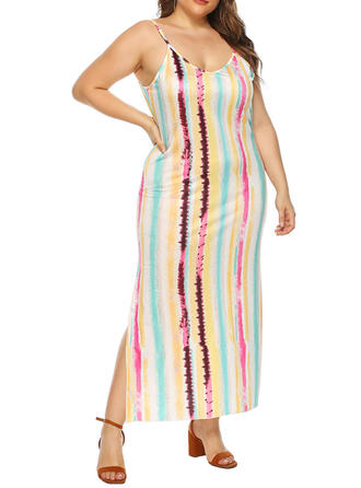 Print/Striped Sleeveless Sheath Sexy/Casual/Plus Size Maxi Dresses