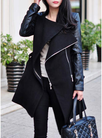 Wool Long Sleeves Plain Slim Fit Coats