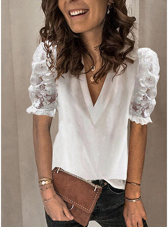 Solid Patchwork Lace V-Neck Puff Sleeves Short Sleeves Casual Blouses