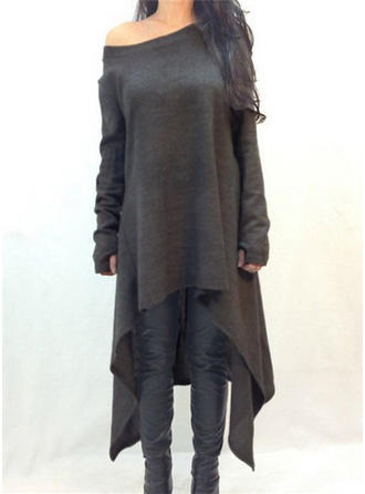 Solid Long Sleeves Shift Asymmetrical Dresses