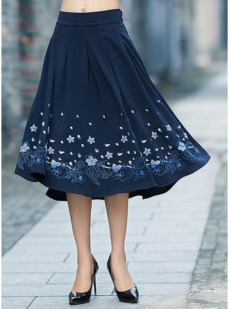 Cotton Linen Floral Knee Length A-Line Skirts