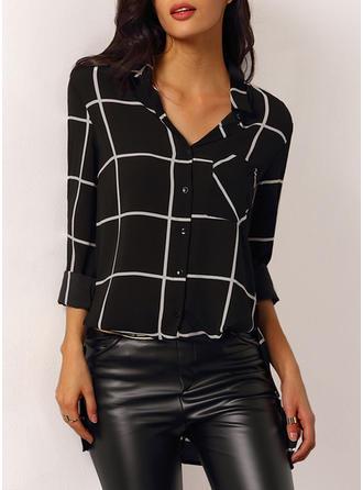 Cotton Lapel Color Block Long Sleeves Shirt Blouses