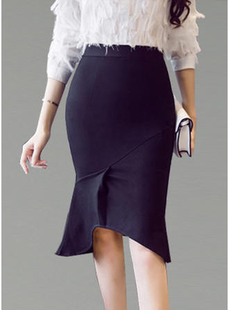 Polyester Cotton Plain Knee Length Flared Skirts