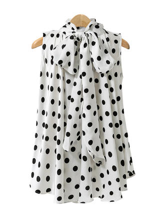 Chiffon Stand-up Collar Print Sleeveless Casual Blouses