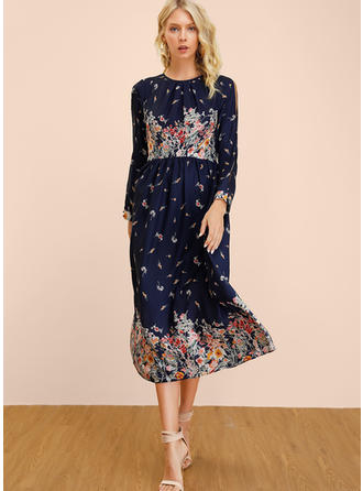 Print/Floral Long Sleeves/Split Sleeve A-line Midi Casual Dresses