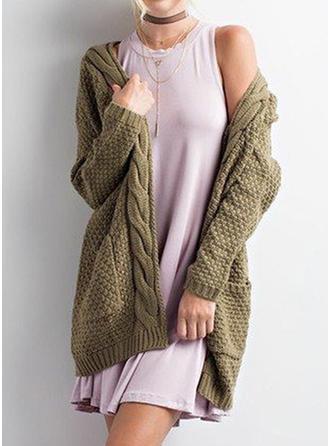 Knitting Long Sleeves Plain Blend Coats