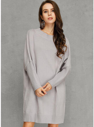 Solid Chunky knit One Shoulder Sweater Dress