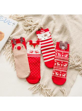 Női boldog Karácsonyt Hóember Rénszarvas Télapó Pamut Harisnya Karácsonyi zokni (4-es készlet)