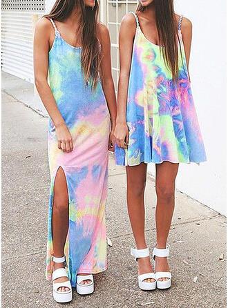 Print Sleeveless Sheath Casual Maxi Dresses