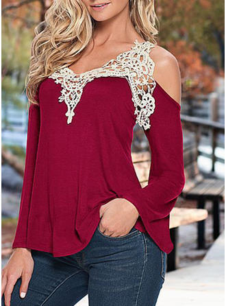 Lace Cold Shoulder Long Sleeves Casual Elegant Sexy Blouses
