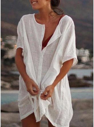 Sólido Mangas 1/2 Tendencia Sobre la Rodilla Casual Vestidos