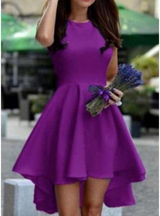 Solid Sleeveless A-line Asymmetrical Vintage/Elegant Dresses