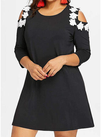 Lace/Floral 3/4 Sleeves/Cold Shoulder Sleeve Shift Above Knee Casual/Elegant/Plus Size Dresses