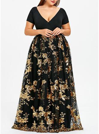 Lace/Sequins/Floral Short Sleeves A-line Little Black/Party/Elegant/Plus Size Maxi Dresses