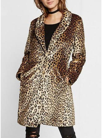 Faux Fur Long Sleeves Animal Print Woolen Coats