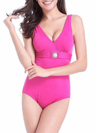 Elegant Solid Color Polyester Spandex One-piece Swimwear