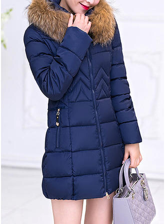 Polyester Cotton Long Sleeves Plain Down Coats