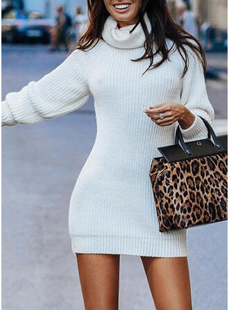 Solid Turtleneck Tight Sweater Dress