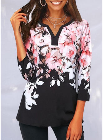 Floral Print V-Neck 3/4 Sleeves T-shirts