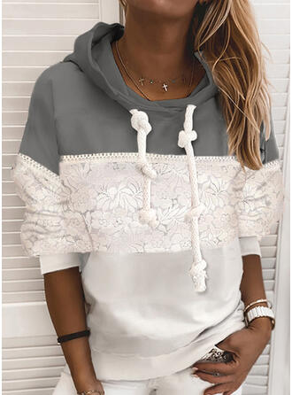 Color Block Patchwork Lace Long Sleeves Hoodie