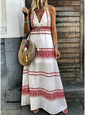 Print/Striped Sleeveless A-line Casual/Boho/Vacation Maxi Dresses
