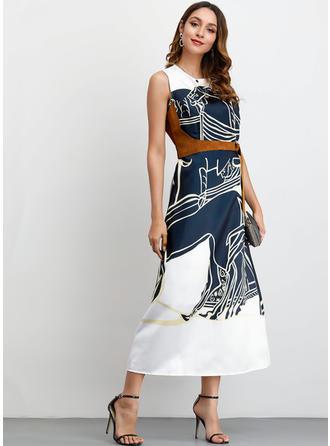 Estampado Sem mangas Evasê Midi Casual/Elegante Vestidos