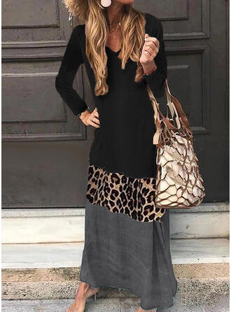 Print/Leopard Long Sleeves Shift Casual Maxi Dresses