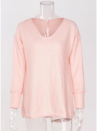 Acryl V-neck Einfarbig Pullover