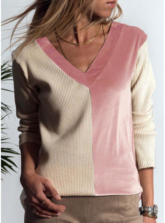 Patchwork V Neck Long Sleeves Casual Blouses