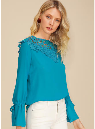 Solid Floral Lace Round Neck Long Sleeves Casual Elegant Blouses
