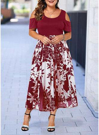Print/Floral Short Sleeves/Cold Shoulder Sleeve A-line Casual/Elegant/Plus Size Midi Dresses