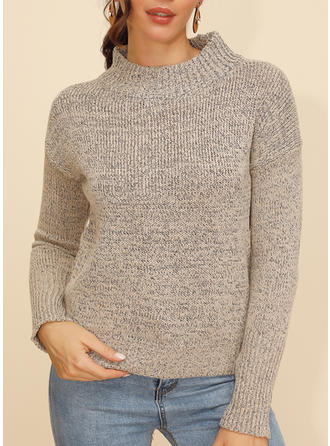 Solid Round Neck Sweaters