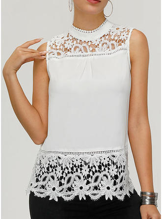 Lace Stand-up Collar Sleeveless Casual Sexy Tank Tops