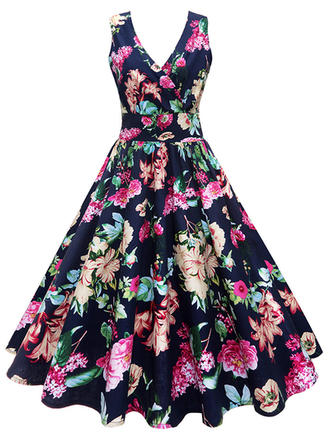 Print Floral V-neck Knee Length A-line Dress