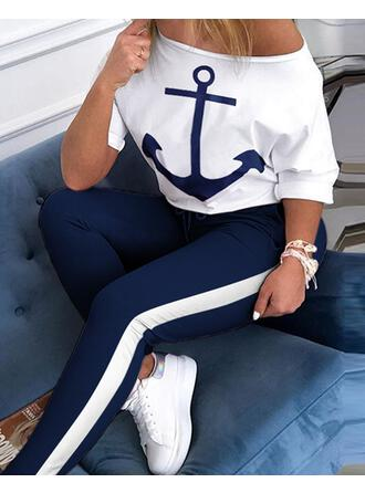Round Neck 1/2 Sleeves Solid Color Fashionable Top & Pants Sets