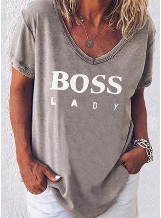 Drucken Figur V-Ausschnitt Kurze Ärmel Freizeit T-shirts