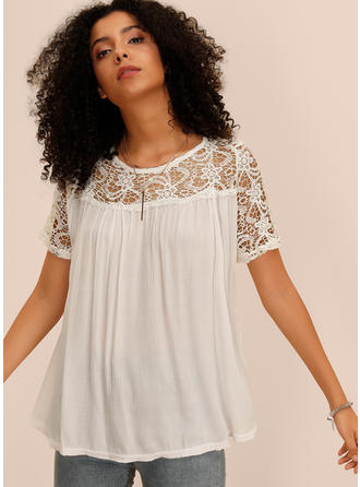 Solid Lace Round Neck Short Sleeves Casual Sexy Blouses