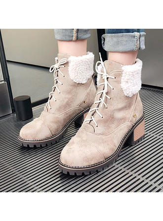 Női Szarvasbőr Chunky sarok Bokacsizma -Val Lace-up cipő