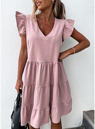 PolkaDot Short Sleeves Shift Above Knee Casual/Vacation Dresses