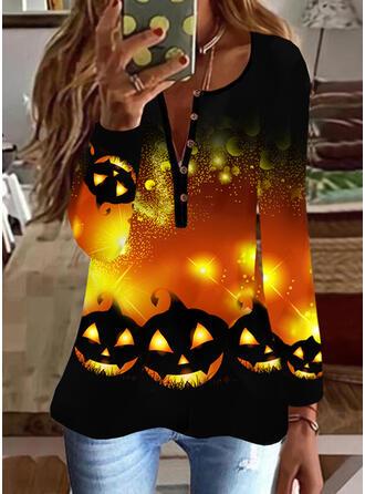 Halloween 印刷 Vネック 長袖 カジュアル ブラウス
